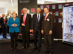 Barack Obama und Angela Merkel besuchen Rittal Stand auf der Hannover Messe 2016